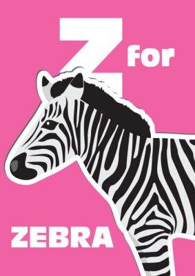 Obraz Z dla Zebra, alfabet zwierząt dla dzieci