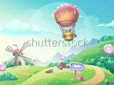 Obraz Z ilustracja krajobraz z marmoladowym cukierkiem młynem i lisem w sterowniku. Zrób to, co jest dostępne na stronie internetowej, interfejsu użytkownika, karty, plakatu.