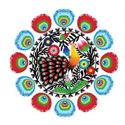 Obraz Z kwiatami wzór ludowy i pawiem, łowicki
