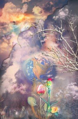 Obraz Zaczarowana i fantastyczny krajobraz z serii kolorowych kwiatów