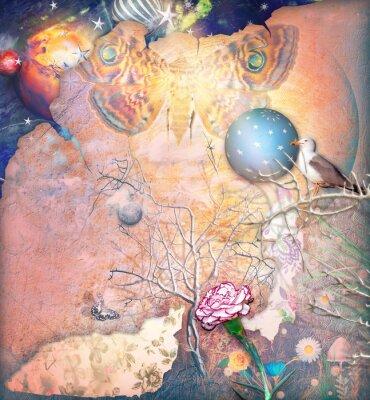 Obraz Zaczarowana krajobrazu z zaklętym drzewa, goździka i butterflye
