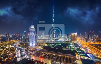 Obraz Zadziwiająca nocy Dubai centrum linia horyzontu, Dubaj, emiraty