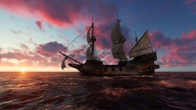 Obraz Żaglówka przy morzem w wieczór przy zmierzchu 3d ilustracją
