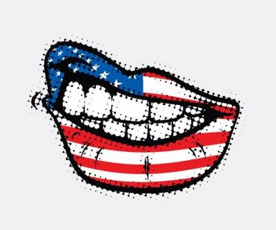Obraz Zakręcony usta flaga USA