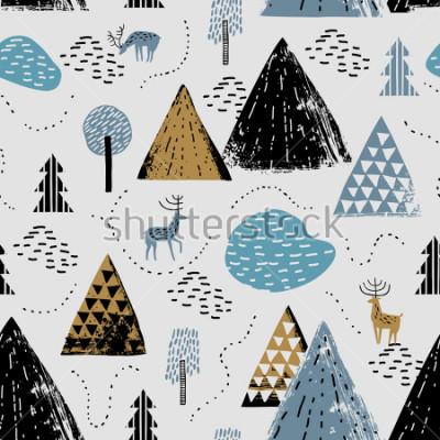 Obraz Zamknięty wzór z krajobrazem górskim, raindeer i lasem. Idealny na karty, przyjęcia, tapety, banery, przedszkole, chrzciny, dekoracje pokoju dziecięcego. Skandynawski krajobraz.