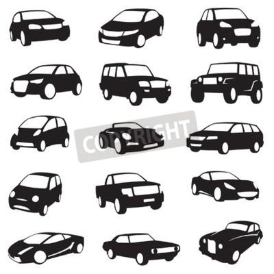 Obraz zbiór piętnastu czarnych sylwetek samochodów