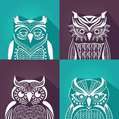 Obraz zbiór portretów graficznych płaszczyzny sowy. ilustracji wektorowych