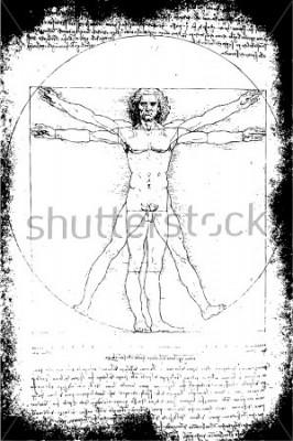 Obraz Zdjęcie człowieka witruwiańskiego Leonarda da Vinci z 1492 roku na teksturowanym tle.
