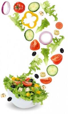 Obraz Zdrowe posiłki wegetariańskie sałatki z pomidorów, ogórków, cebuli i Pa
