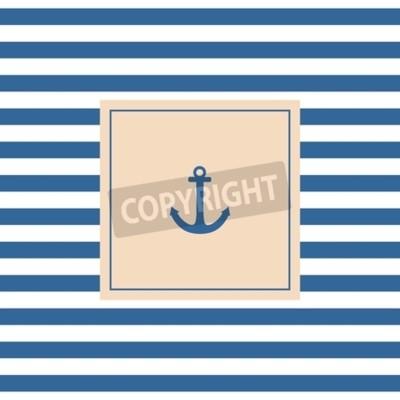 Obraz Żeglarskie karta wektor lub zaproszenie z kotwicą pastelowym tle i niebieskim białymi paskami