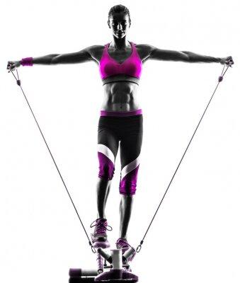 Obraz zespoły kobieta fitness ćwiczenia oporowe krokowy