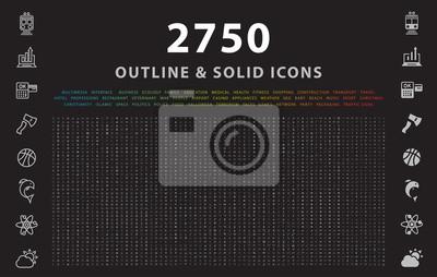 Obraz Zestaw 2750 konturów i solidnych ikon na czarnym tle. Elementy wektorowe na białym tle