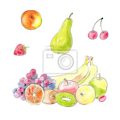 Zestaw akwareli owoców