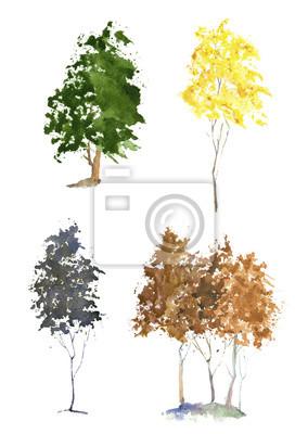 Zestaw drzew akwarela.