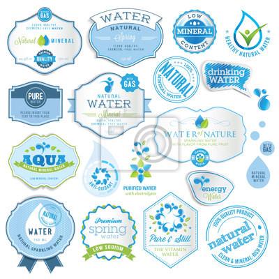 Obraz Zestaw etykiet wody