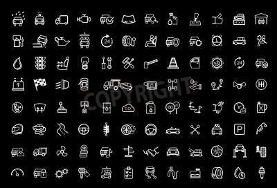 Obraz zestaw ikon czarny auto wektor