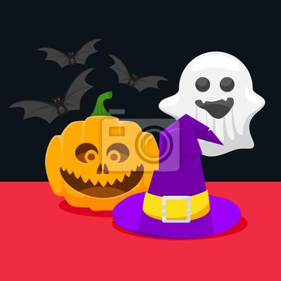 Obraz Zestaw ikon dla Halloween, dynia, czarownica, duch kapelusz i bat