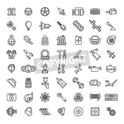 Obraz Zestaw ikon linii części samochodowe. Auto usługa naprawy symbol, przekładnia silnik, spanner i filtr, wektorowa ilustracja
