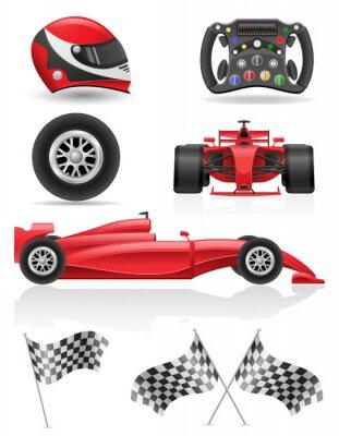 Obraz zestaw ikon wyścigi EPS 10 ilustracji wektorowych