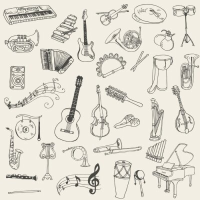 Obraz Zestaw Instrumentów Muzycznych - wyciągnąć rękę w wektorze