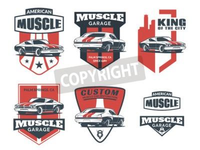 Obraz Zestaw klasycznego samochodu mięśni ikonę, emblematów, odznaki i ikony samodzielnie na białym tle. Naprawa samochodów osobowych, naprawa samochodów i elementy projektu klubu samochodowego.