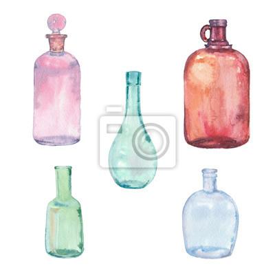 Zestaw kolorowych butelek akwarela