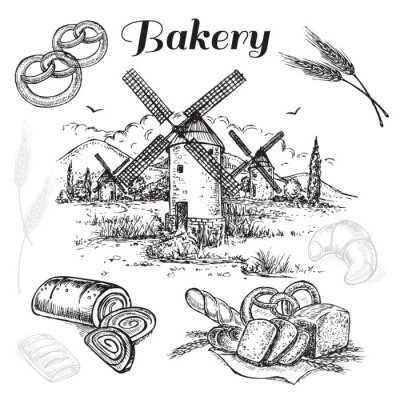 Obraz Zestaw ręcznie rysowane Bakery
