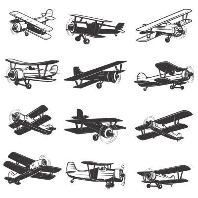 Obraz zestaw starych samolotów ikon. ilustracje samolotów. element projektu dla logo, etykiety, godło, znak. ilustracji wektorowych.