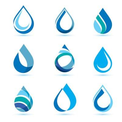 Obraz Zestaw streszczenie niebieskim kropli wody symbole, logo szablon