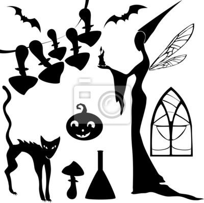 Obraz Zestaw sylwetki na Halloween
