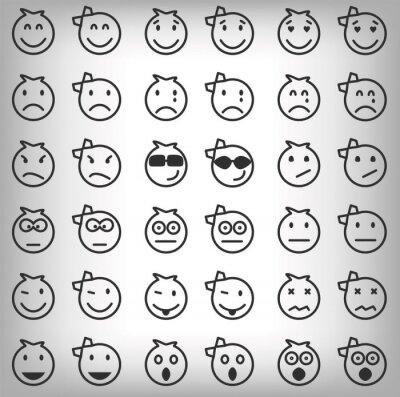 Obraz Zestaw szarych uśmiechów