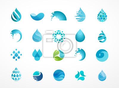 Obraz Zestaw wody, fal i upuść ikon, symboli