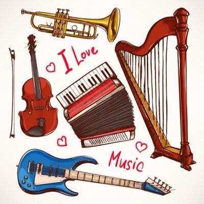 Obraz Zestaw z ręcznie rysowane Instrumenty muzyczne