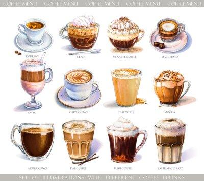 Obraz Zestaw z różnymi napojami kawowymi do menu kawiarni lub kawiarni. Ilustracja mocnego espresso, delikatnego latte, słodkiego macchiato i cappuccino, wiedeńskiej kawy i lukrowanych lodów.