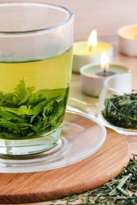 Obraz Zielona herbata i świece
