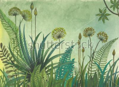 Obraz Zielona trawa rosnąca w dżungli. ilustracja malowana akwarelami