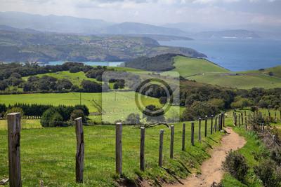 Zielone pola na Biskajskiej wybrzeżu w pobliżu Gorliz, Kraj Basków, Hiszpania