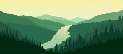 Obraz Zielony krajobraz górski z rzeki w dolinie.