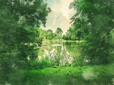 Obraz Zielony park i jezioro w Amsterdamie. Akwarela. Styl malarstwa olejnego.