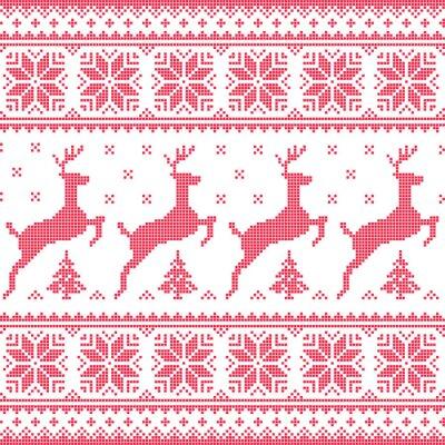 Obraz Zima, Boże Narodzenie czerwony bez szwu z jelenia pixelated