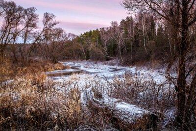 Obraz Zima i wiosna rzeki i drewna