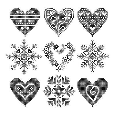 Obraz zima kocham szwu czarne zestaw serca