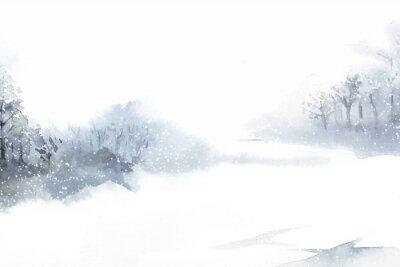 Obraz Zimowa kraina czarów krajobraz malowany przez wektor akwarela