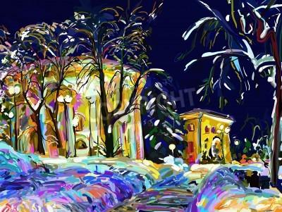 Obraz Zimowa noc pejzaż obraz cyfrowy