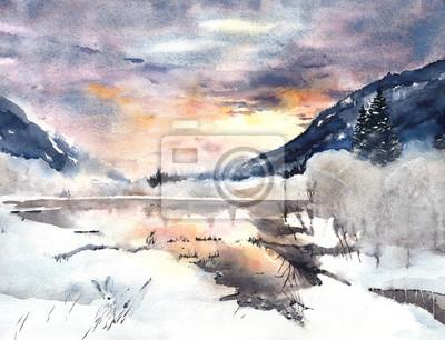 Zimowy krajobraz gór akwarela jeziora śnieg