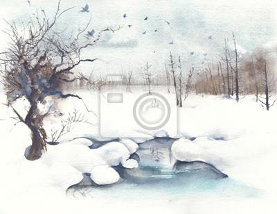 Zimowy krajobraz las wiosną akwarela ilustracja