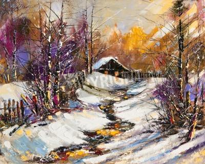 Obraz Zimowy krajobraz obszarów wiejskich