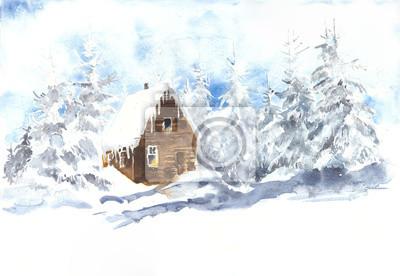 Zimowy krajobraz z drewna sosny kabina akwarela ilustracji Christmas karty z pozdrowieniami