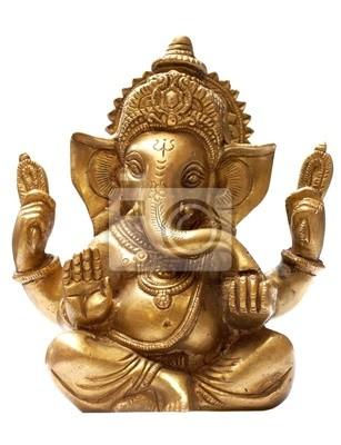 Obraz Złoty Hindu God Ganesh na białym tle