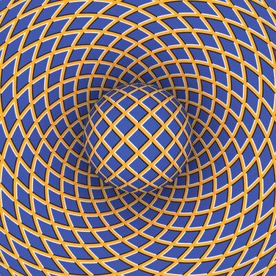 Obraz Złudzenie optyczne obrotu kuli na tle z możliwością przemieszczania.